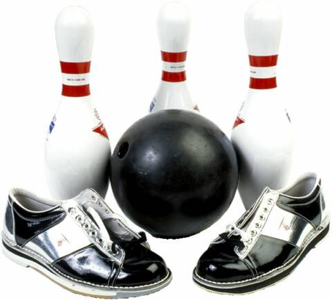 Bowling ball, shoes, and pins